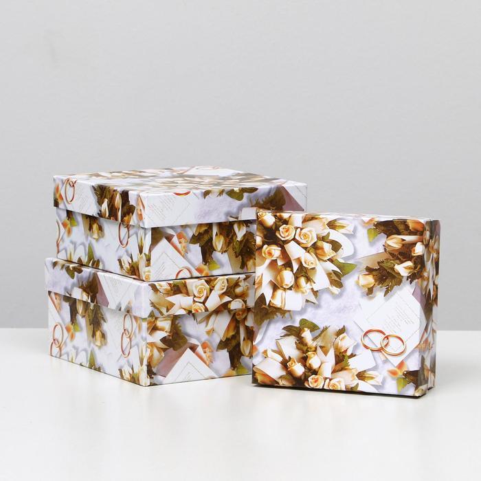 "Набор коробок 3 в 1 ""Свадьба кольца и букет невесты"", 19 х 19 х 9,5 - 15,5 х 15,5 х 6,5 см - фото 924113"