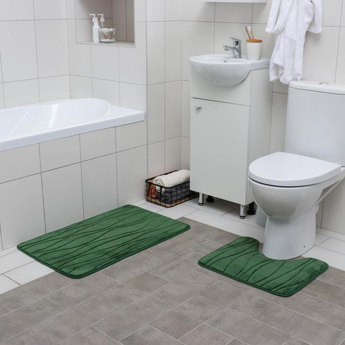 """Set of floor mats for the bath and toilet 2 piece 40 × 50, 50 × 80 cm """"Seaweed"""" color green"""