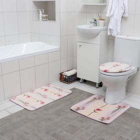 Набор ковриков для ванны и туалета «Клевер», 3 шт: 45×75, 45×50 см, 52×57 см