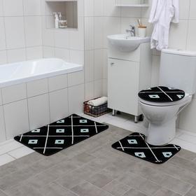 Набор ковриков для ванны и туалета «Плитка», 3 шт: 50×80, 50×40, 43×38 см