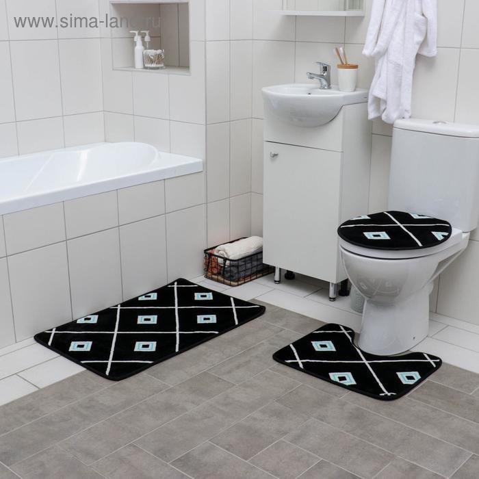 "Set of floor mats for the bath and toilet 3 piece 50 × 80, 50x40, 43х38 cm ""Tiles"""