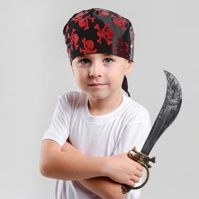 A set of pirate sword, bandana black with red skulls, size 50*50cm