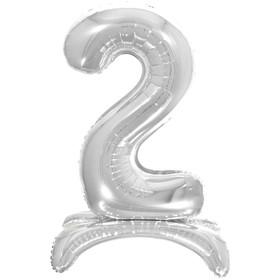 """Шар фольгированный 26"""" «2», на подставке, цвет серебро"""