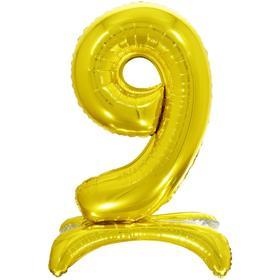 """Шар фольгированный 26"""" «9», на подставке, цвет золото"""