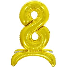 """Шар фольгированный 26"""" «8», на подставке, цвет золото"""