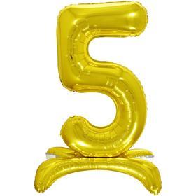 """Шар фольгированный 26"""" «5», на подставке, цвет золото"""