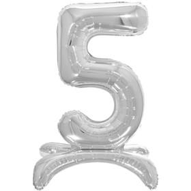 """Шар фольгированный 26"""" «5», на подставке, цвет серебро"""