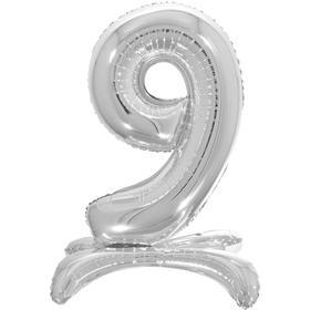 """Шар фольгированный 26"""" «9», на подставке, цвет серебро"""
