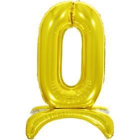 """Шар фольгированный 26"""" «0», на подставке, цвет золото"""