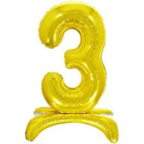 """Шар фольгированный 26"""" «3», на подставке, цвет золото"""