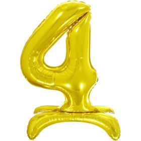 """Шар фольгированный 26"""" «4», на подставке, цвет золото"""