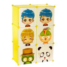 """Шкаф модульный для игрушек """"Мультяшки-2"""" белый, салатовый, 6 дв."""