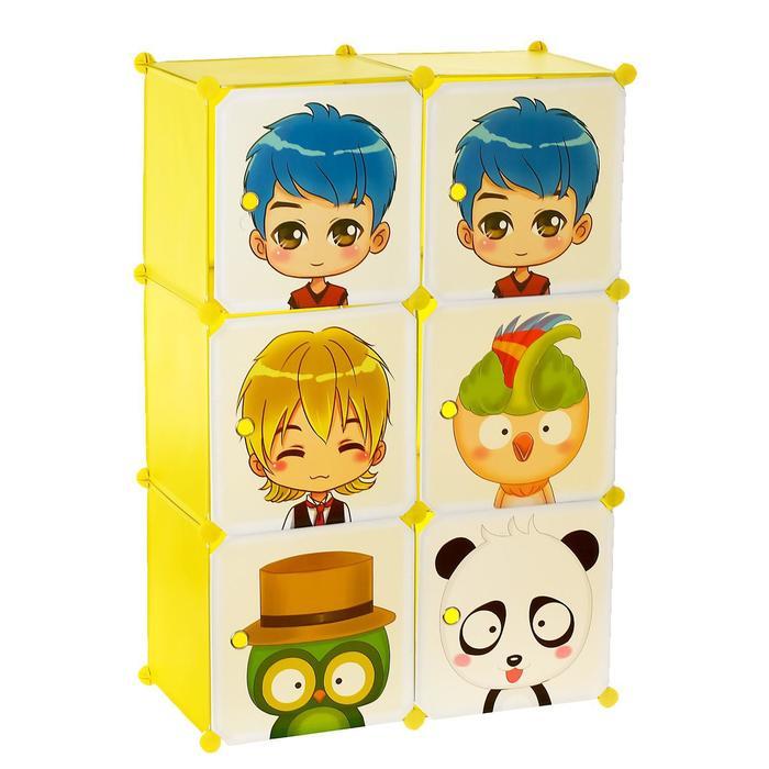 Шкаф модульный для игрушек «Мультяшки-2» белый, салатовый, 6 дв.