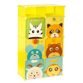 """Шкаф модульный для игрушек """"Зверята"""" желтый, 6 дв. 7 отсеков."""