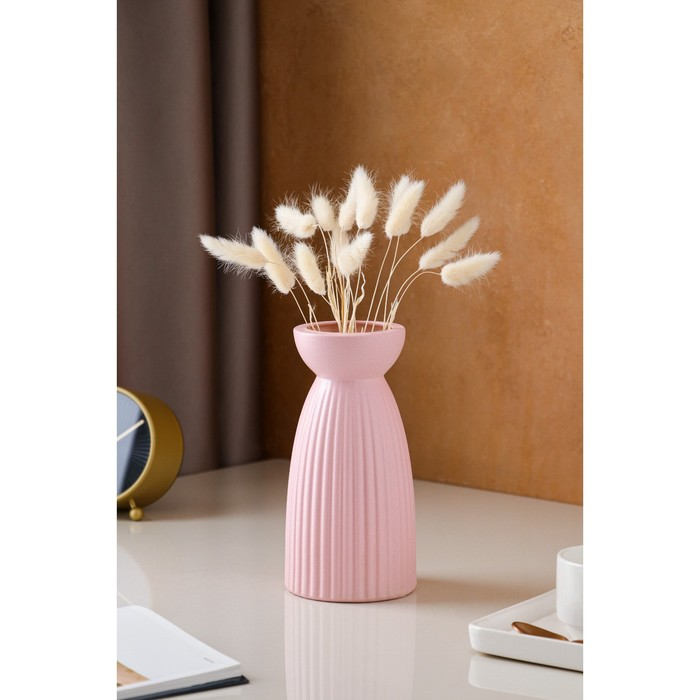 "Ваза настольная ""Тиффани"", керамика, розовая, 21 см - фото 847897"