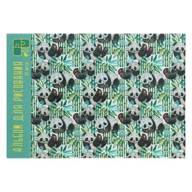 """Альбом для рисования А4, 30 листов на склейке """"Панды на прогулке"""", обложка мелованный картон, глянцевая ламинация, блок офсет 110 г/м2 + 2 листа с пазлами"""
