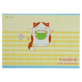 """Альбом для рисования А4, 30 листов на скрепке """"День кота"""", обложка мелованный картон, выборочный лак, блок офсет 110 г/м2"""