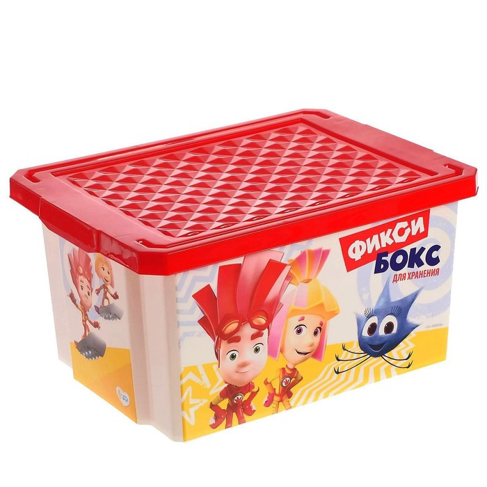 Детский ящик для хранения игрушек «Фиксики», 17 литров, цвет красный