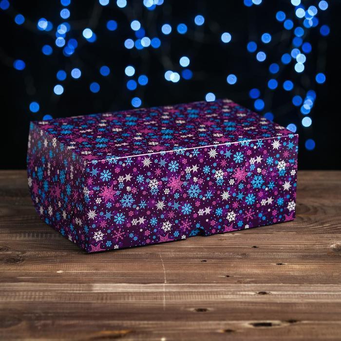 """Коробка картонная на 6 капкейков """"Снежинки"""" на синем, 25 х 17 х 10 см"""