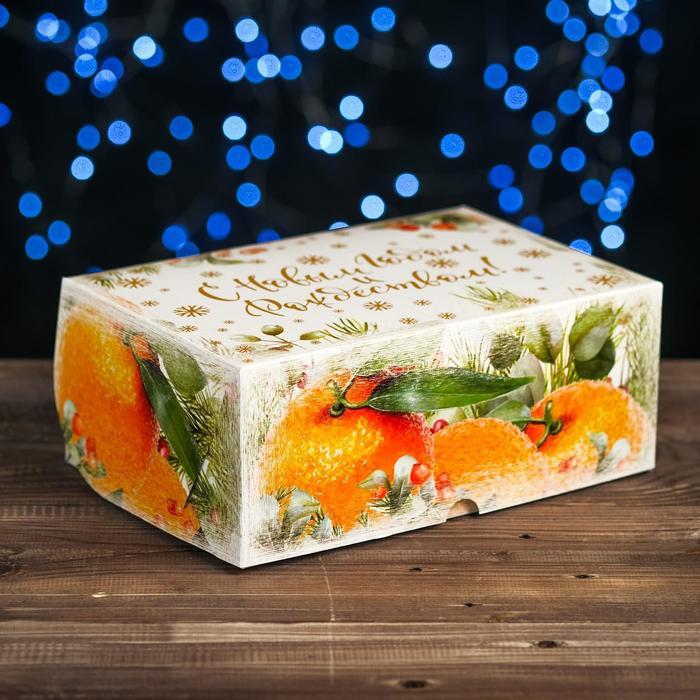 """Коробка картонная на 6 капкейков """"Апельсины"""" , 25 х 17 х 10 см"""