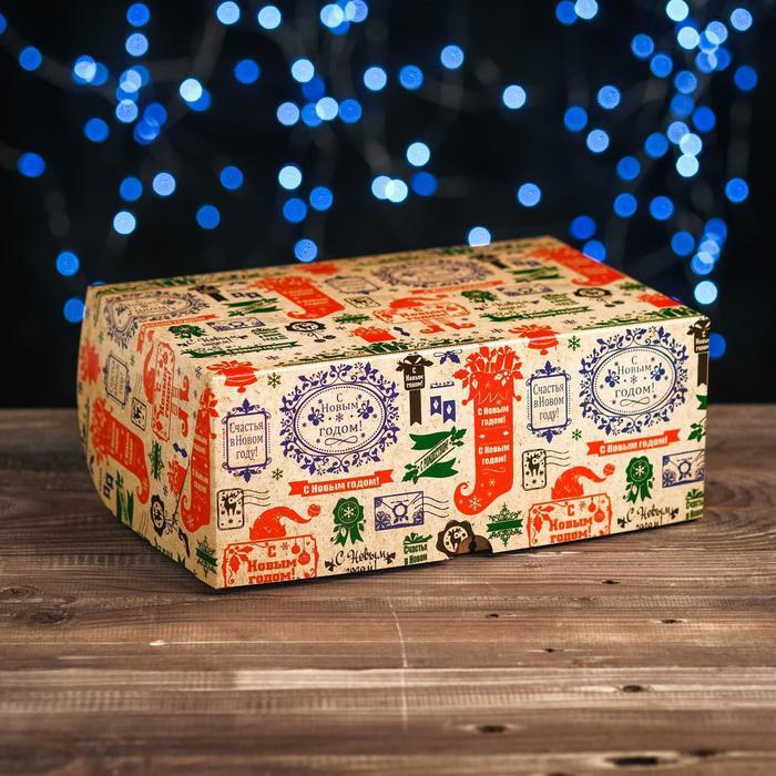 """Коробка картонная на 6 капкейков """"С Новым Годом,крафт"""" , 25 х 17 х 10 см"""
