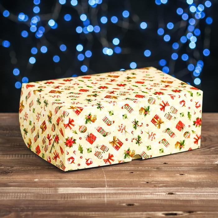 """Коробка картонная на 6 капкейков """"Новогодний декор"""" , 25 х 17 х 10 см"""