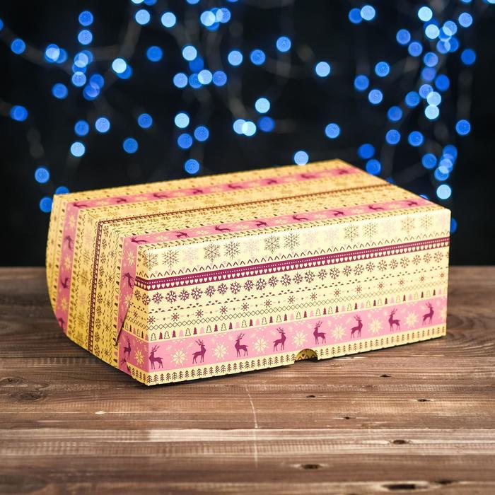 """Коробка картонная на 6 капкейков """"Вязанка олени"""" , 25 х 17 х 10 см"""
