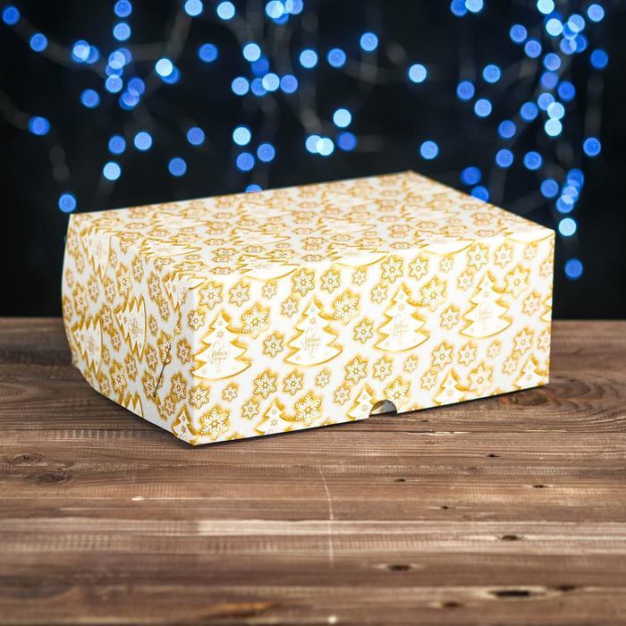 """Коробка картонная на 6 капкейков """"Елки золотые"""" , 25 х 17 х 10 см"""