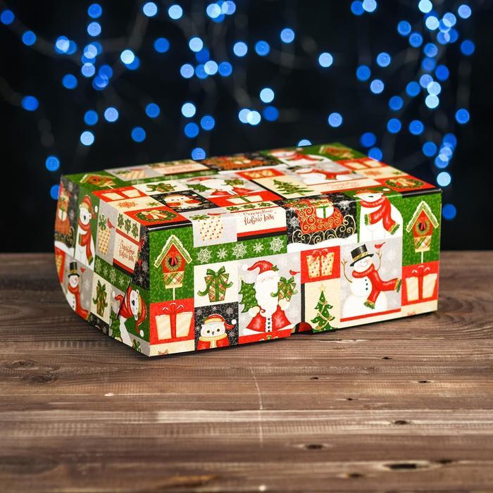 """Коробка картонная на 6 капкейков """"Новогодний микс"""" , 25 х 17 х 10 см"""