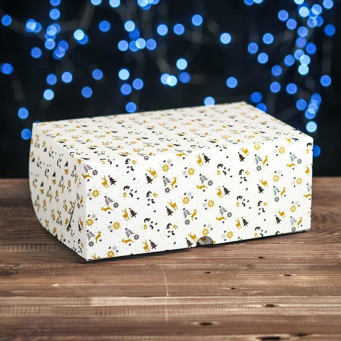"""Коробка картонная на 6 капкейков """"Олени"""" , 25 х 17 х 10 см"""