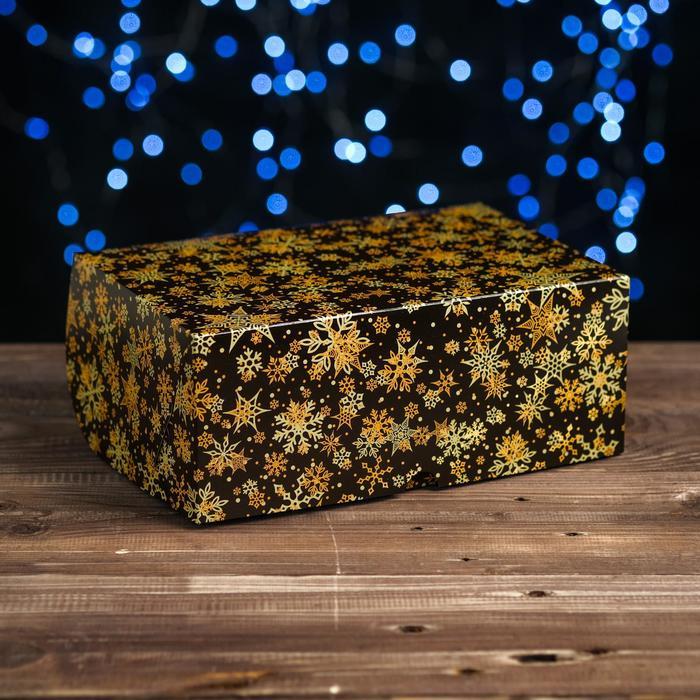"""Коробка картонная на 6 капкейков """"Звезды-снежинки"""" , 25 х 17 х 10 см"""