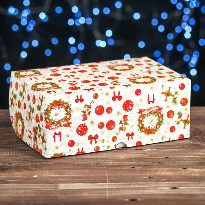"""Коробка картонная на 6 капкейков """"Рождество"""" , 25 х 17 х 10 см"""