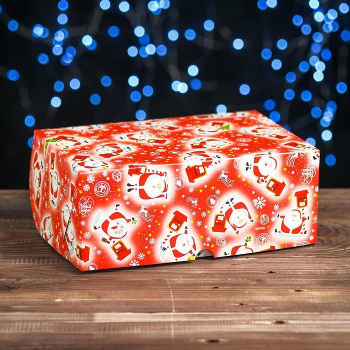 """Коробка картонная на 6 капкейков """"Новогодняя почта"""" , 25 х 17 х 10 см"""