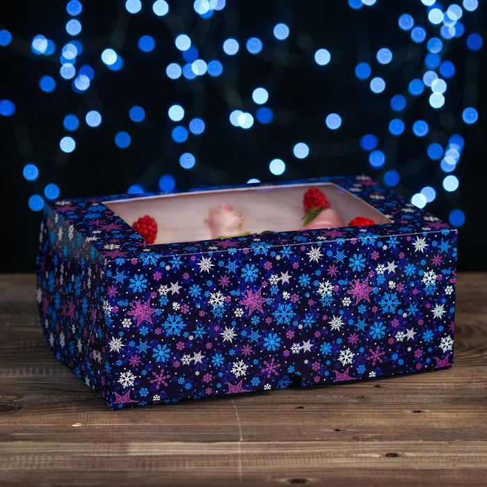 """Коробка картонная на 6 капкейков """"Снежинки"""" на синем, с окном, 25 х 17 х 10 см"""
