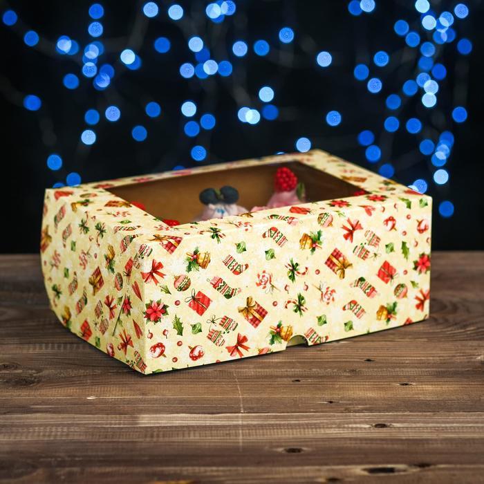 """Коробка картонная на 6 капкейков """"Новогодний декор"""" ,с окном, 25 х 17 х 10 см"""