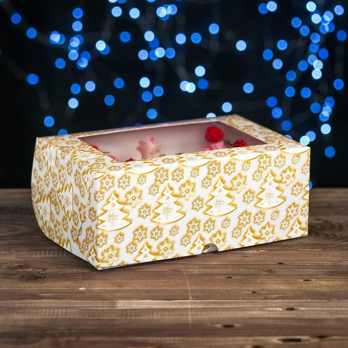 """Коробка картонная на 6 капкейков """"Елки золотые"""" ,с окном, 25 х 17 х 10 см"""