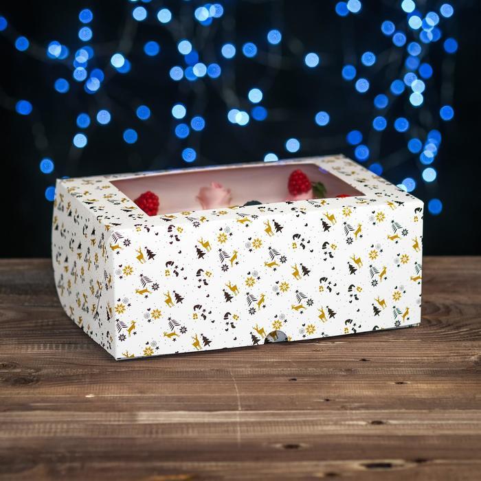 """Коробка картонная на 6 капкейков """"Олени"""" ,с окном, 25 х 17 х 10 см"""