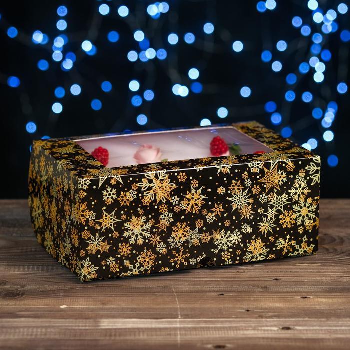 "Коробка картонная на 6 капкейков ""Звезды-снежинки"",с окном, 25 х 17 х 10 см"