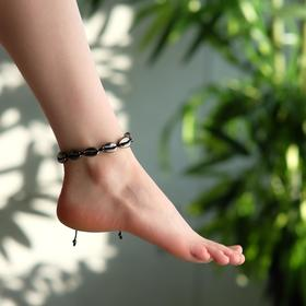 "Anklet ""Shell"" gloss, color gray on black thread"