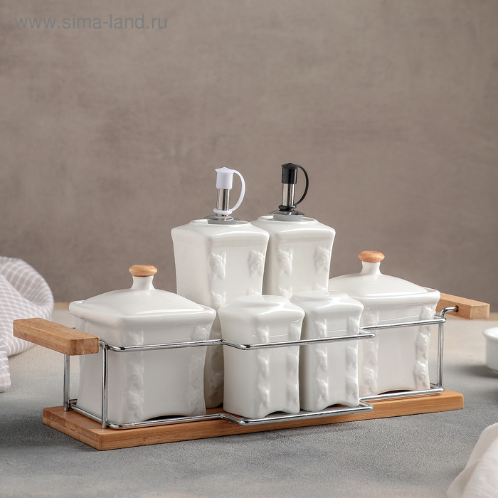 """Set for spices and sauces """"Aesthete. Venice"""", 6 items on a stand: the salt shaker 100ml, Bank 200 ml, bottle 200 ml"""