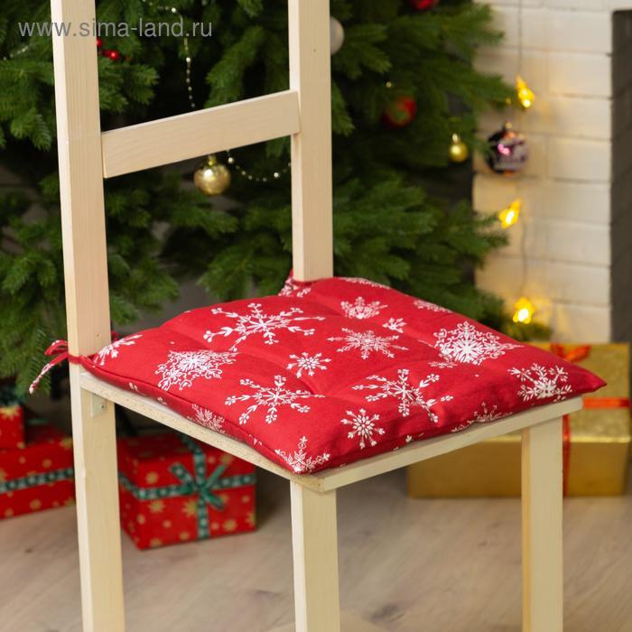 """The seat on the chair """"White snowflakes"""" 42х42х7 cm, 100% cotton, 164 g/m2"""