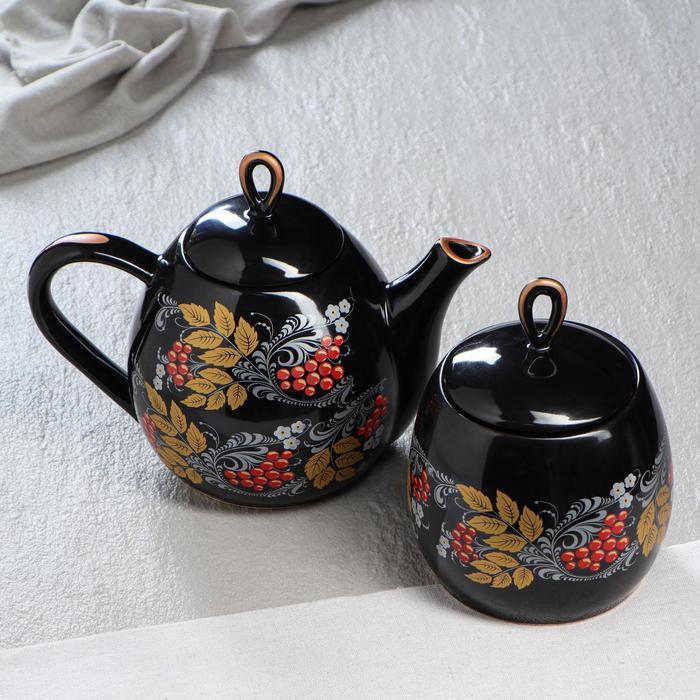 """Набор чайный """"Петелька"""", 2 предмета, чёрный, рябина, 1.3/0.8 л - фото 605744"""