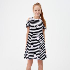 Платье для девочки, цвет белый/чёрный, рост 146 см