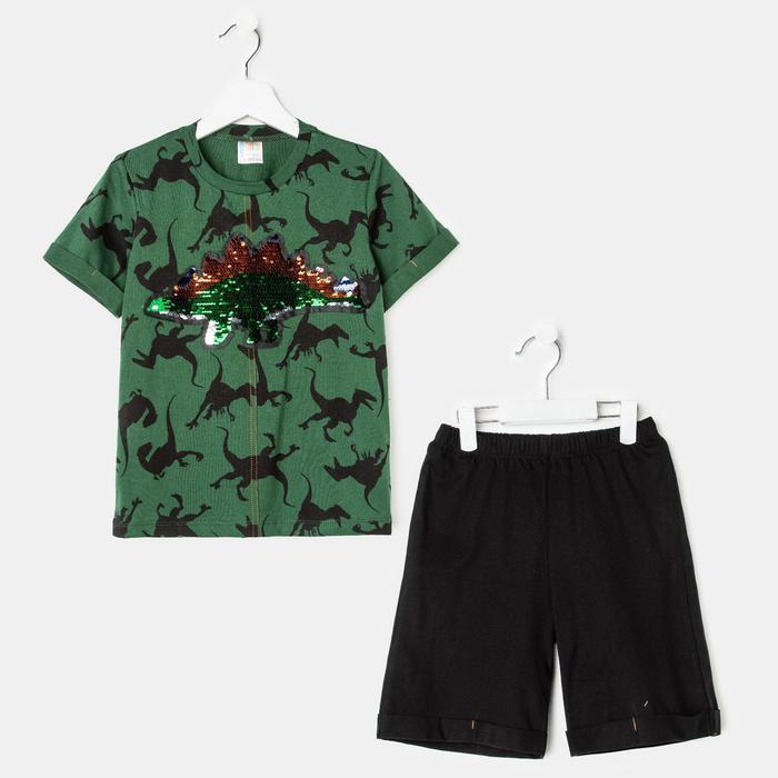 Комплект (футболка, шорты) для мальчика, цвет зелёный, рост 134 см - фото 1935506