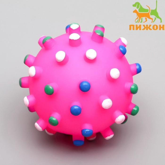 """Игрушка пищащая """"Бактерия"""" для собак, 6,3 см, розовый"""