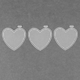 Canvas for embroidery plastic heart 7.5*7.5 cm (neb 3 PCs price per nab) white AU