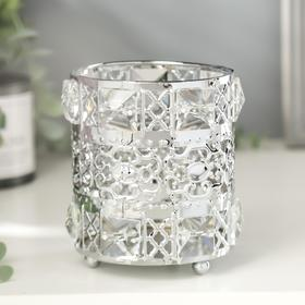 "Подсвечник металл, стекло на 1 свечу ""Геометрия"" серебро 11х9,5х9,5 см"