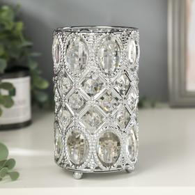 """Подсвечник металл, стекло на 1 свечу """"Овалы и ромбы"""" серебро 14,5х8,5х8,5 см"""
