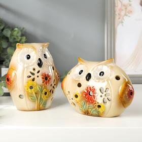 "Подсвечник керамика ""Совушки с цветами"" набор 2 шт 14х11х7, 15,5х11,5х7,5 см"