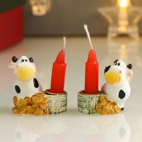 """Polyresin souvenir candle holder with a candle """"Cow Glasha with coins"""" MIX 4,5x4,3x3 cm"""